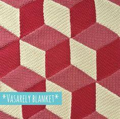 Grande fan de Vasarely, j'ai eu envie de crocheter une couverture inspirée par son oeuvre et ses illusions d'optiques.