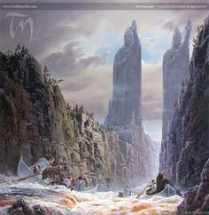 The Argonath by Ted Nasmith (Limited Edition giclee print of 100 copies, signed and numbered) - Tolkien Library Tolkien Books, Jrr Tolkien, Gandalf, Legolas, Thranduil, Fellowship Of The Ring, Lord Of The Rings, Sci Fi Fantasy, Fantasy World