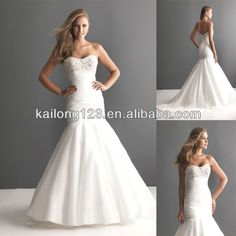mermaid style wedding dresses with bling | Dreamy Sweetheart Asymmetrical Ruched Beaded Bust Chapel Train Flared ...