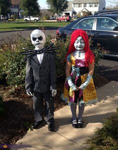 Jack and Sally Costume - 2013 Halloween Costume Contest Sister Halloween Costumes, Creepy Costumes, Halloween Costume Contest, Halloween Kids, Costume Ideas, Halloween 2018, Creepy Halloween, Halloween Party, Disfraz Jack Skeleton