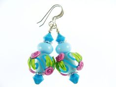 Turquoise Lampwork Earrings Glass Bead Earrings by JadjusJewelry, $32.00