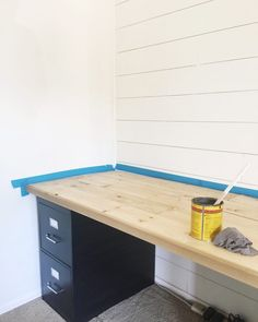 "industrial farmhouse desktop  28"" wide 8 feet long  1x4s frame or could use solid plywood  1x6s for plank top  Kreg Jig 1 1/4″ pocket hole screws Nail gun 1 1/4″ brad nails Doorstop trim Minwax Weathered Oak Minwax Preconditioner Minwax Polyurethane"