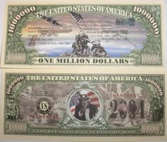 Set of 10 Bills-Veterans of War Million Dollar Bill by Novelties Wholesale. $0.01. NEVER FORGET, THANK A VET! All of our bills are printed on high-quality paper for a beautiful presentation. They make great gifts for friends or family who have served our country.