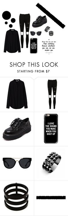 """""""Black"""" by jovanax97 ❤ liked on Polyvore featuring Uniqlo, WithChic, Casetify, Quay, Waterford, Repossi and black"""