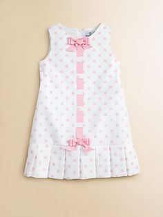 Pique Pleated Polka Dot Dress with dropd down waist and bows