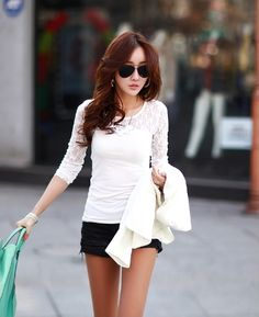 New Fashion Women T-shirt Stretch Floral Lace Patchwork Crew Neck Long Sleeve Slim Fit Simple Tops Black/White