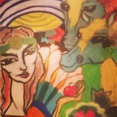 Fairy world #dessin#draw#fée#pomme#chevaux#couleur#arcenciel