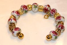 Ceramic Mauve Flower Bead Bracelet by GlorysCloset on Etsy