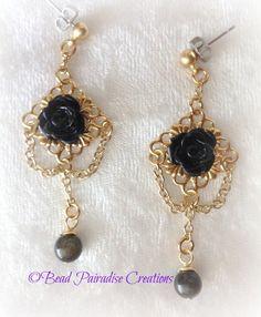 Black Gold Fancy Drop Earrings - Handmade Fashion