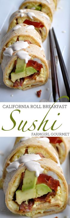 California Roll Breakfast Sushi is easy to make and the kids will think you are the coolest mom ever. Tortillas loaded with egg, bacon and avocado and drizzled with a sriracha sour cream sauce. Breakfast Sushi, Gourmet Breakfast, Low Carb Breakfast, Breakfast Time, Best Breakfast, Breakfast Recipes, Breakfast Potluck, Easy Cooking, Cooking Recipes
