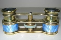 "Antique Powder Blue Guilloche Enameled Opera Glasses, Engraved ""J. Duelleroy/London""    c.1920's"