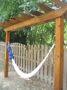 Hammock Diy, Backyard Hammock, Hammock Stand, Backyard Patio, Backyard Landscaping, Hammocks, Hammock Cover, Outdoor Hammock, Hammock Frame