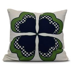 """The Holiday Aisle Funky Junky Leaf Clover Throw Pillow Color: Navy Blue, Size: 18"""" H x 18"""" W"""