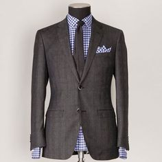 Blue gingham with charcoal suit livens it up & makes more interesting for spring/summer