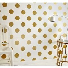 Graham & Brown White & Gold Dotty Polkadot Wallpaper - House of Fraser Gold Spot Wallpaper, Gold Polka Dot Wallpaper, Spotted Wallpaper, Metallic Wallpaper, Metallic Prints, Gold Polka Dots, Kids Wallpaper, Print Wallpaper, Wallpaper Roll