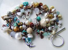 beaded charm bracelet maroon wire wrapped beads by UniqueNecks, $45.00