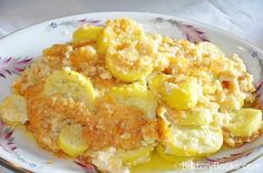 Yellow Squash Casserole (with Ritz, cheese, & eggs) I am thinking since it says to steam it, we could use frozen squash if we had to... (LRB)