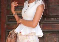 love the peplum top with floral shorts or pants.  ❤