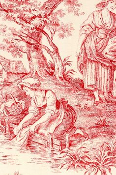 Provence Toile de Jouy Fabric Red on cream scenic toile de jouy fabric