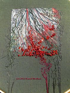 Seep: P1430294-cpyrt | Flickr - Photo Sharing! by Carol Walker - Center detail. Printed cotton, shredded lame, netting; metallic and cotton flosses; glass beads. Base is medium weight linen.