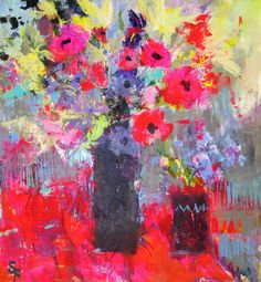 Soraya French 'Summer flowers' Mixed media on board French Paintings, Floral Paintings, Art Paintings, Abstract Flowers, Abstract Art, Cool Artwork, Amazing Artwork, French Art, Summer Flowers