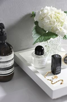 beauty vignette / favourite things: Aesop / Byredo / Chanel / white Hydrangeas / simple gold jewellery