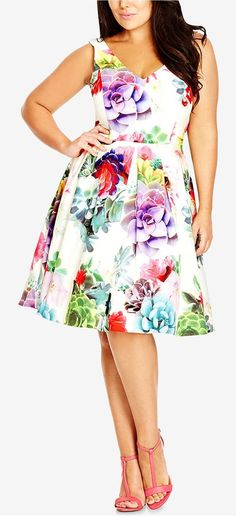 Plus Size Sleeveless Empire-Waist Dress
