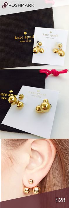 Kate Spade Double Bauble Ear Jackets Stud Earrings