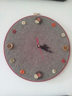 Button clock upcycled work trousers 2014