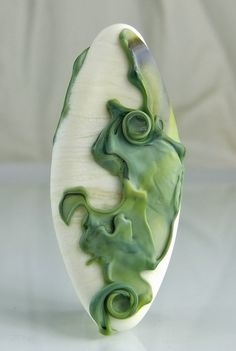 Etched Ivory and Green Lampwork  Focal Bead by skyvalleybeads, $20.00