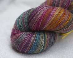 Handspun yarn 985 yards BFL Silk - Cottage Carpet - beautiful colorway. Fiber from JulieSpins.