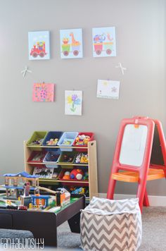 Playroom design with designated play areas. Love the tour of this whole house!