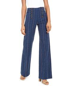 Nanette Lepore Striped Sailor Pants In Denim Sailor Pants, Pants For Women, Clothes For Women, Nanette Lepore, Women's Leggings, Wide Leg Pants, Blue Stripes, Bell Bottom Jeans, Bright Colors