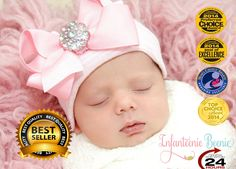 NEWBORN GIRL take home outfit/ Newborn Beanie / White and Pink Beanie with Bow/ Portait Hat/ Newborn Hospital Hat/ Girl Newborn/ Easter Baby by InfanteenieBeenie on Etsy https://www.etsy.com/listing/196592726/newborn-girl-take-home-outfit-newborn