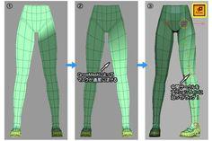 3d anime legs topology