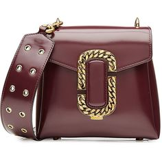 Marc Jacobs Patent Leather Shoulder Bag (€1.223) ❤ liked on Polyvore featuring bags, handbags, shoulder bags, purses, borse, сумки, purple, man bag, red patent leather purse and purse shoulder bag