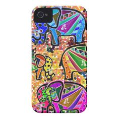Cute whimsical colorful elephant & floral mozaique iPhone 4 case