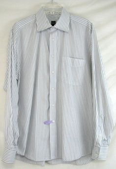 IKE BEHAR Dress SHIRT Striped BLUE Button Front Size 16.5 35 Men's