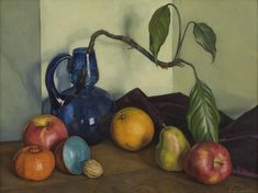 """Still Life with Blue Vase and Fruit,"" Luigi Lucioni, ca. 1924–1926, oil on canvas, 15 3/8 x 20 5/16"", Worcester Art Museum."