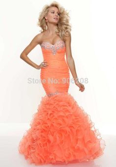 2015 Free shipping Designer Corset Back Ruffle Sweetheart Beaded Long Orange Mermaid Prom Dress vestidos de fiesta longo Custom