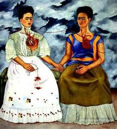"""Frida Kahlo Paintings  """"The Two Fridas"""": surrealist, expressive portraits, creating a double or two representations"""