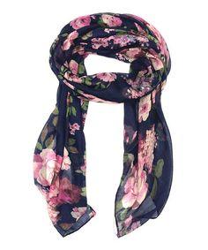 Another great find on #zulily! Navy & Pink Rose Scarf #zulilyfinds