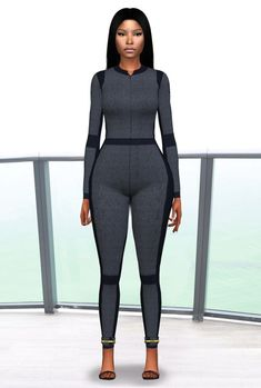 Nicki Minaj   Сhanel grey jumpsuit • Custom thumbnail • Compatible with HQ Mod Download Clothing Haul, Sims 4 Clothing, Sims 4 Cas, Sims Cc, Sims 4 Cc Skin, Sims 4 Toddler, Cotton Bralette, The Sims4, Sims 4 Custom Content