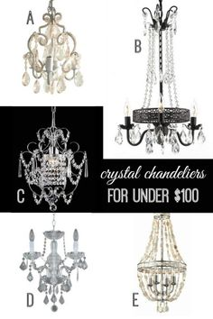 Crystal Chandeliers for Under $100 via Remodelaholic.com