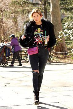 Ashley Benson wearing Versace Bag in Pink