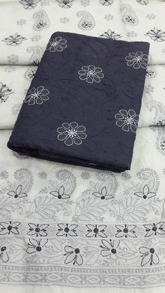 Lucknow Chikan Online Suit Length 3 piece Grey Cotton $104
