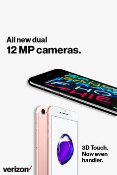 Meet the iPhone 7. All-new dual 12MP cameras. The brightest, most colorful iPhone display ever. The fastest performance and best battery life in an iPhone. Get yours today with Verizon.