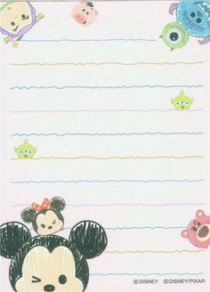 small cute memo pad with Disney Tsum Tsum characters Free Printable Stationery, Cute Stationery, Stationery Paper, Stationary, Mickey Tsum Tsum, Mickey Minnie Mouse, Tsum Tsum Wallpaper, Wallpaper Fofos, Memo Notepad
