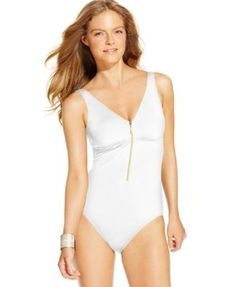 Lauren Ralph Lauren Zip-Front One-Piece Swimsuit | macys.com