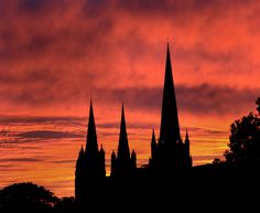 Sky on fire by Lichfield Cathedral